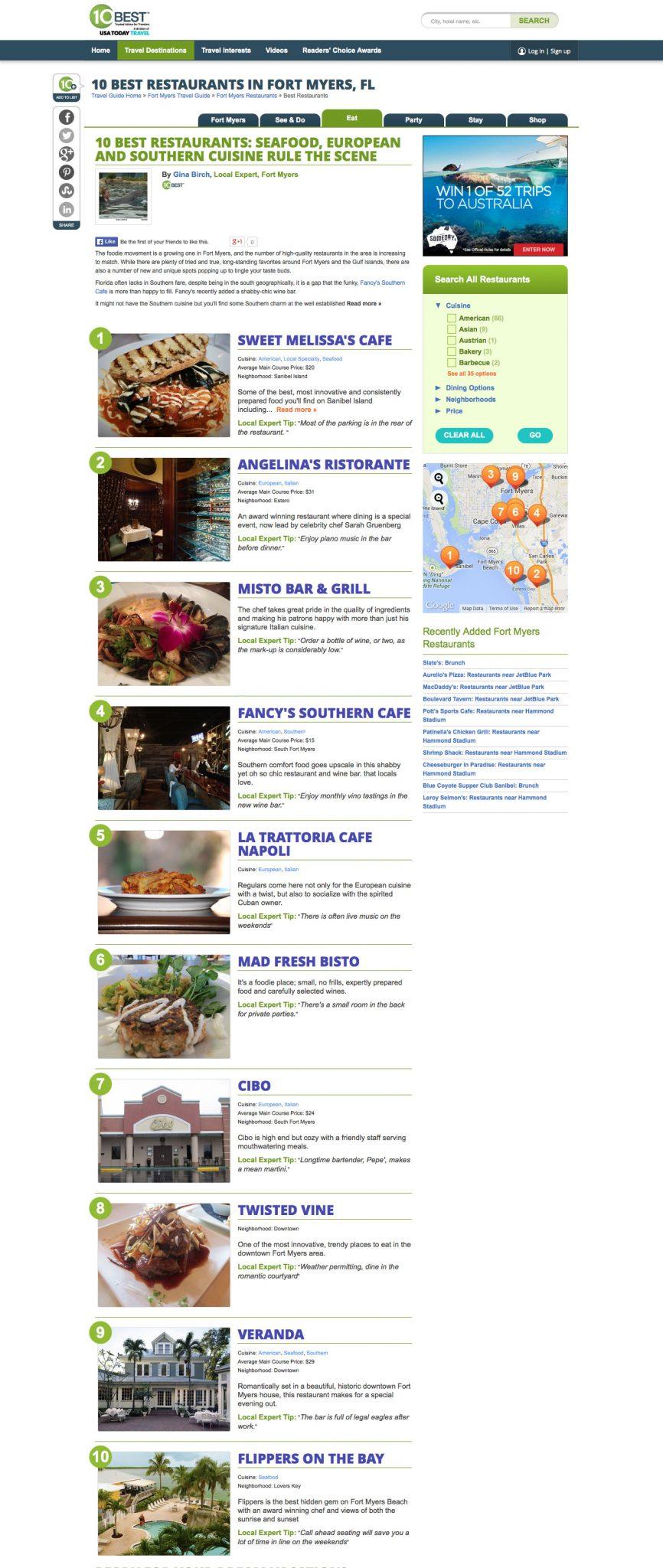 screenshot of fort myers 10 best restaurants