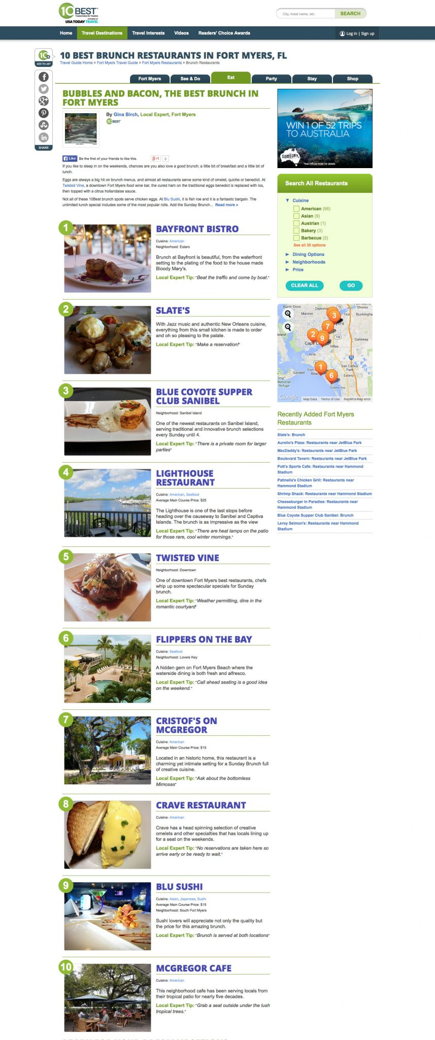 Flippers Named One Of 10 Best Brunch Restaurants In Fort Myers Fl